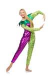 Vrouw die geïsoleerd clownkostuum dragen Royalty-vrije Stock Foto's