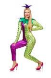 Vrouw die geïsoleerd clownkostuum dragen Royalty-vrije Stock Afbeeldingen