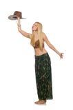 Vrouw die geïsoleerde cowboyhoed draagt Royalty-vrije Stock Afbeeldingen