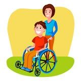 Vrouw die gehandicapte persoon in rolstoel helpen vector Stock Fotografie