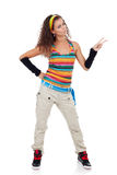 Vrouw die gelukkige en gesturing overwinning zijn Stock Foto's