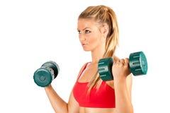 Vrouw die geschiktheid met gewichten doet Royalty-vrije Stock Foto
