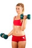 Vrouw die geschiktheid met gewichten doet Stock Afbeelding