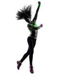 Vrouw die geschiktheidszumba dansend het springen silhouet uitoefenen Stock Afbeeldingen
