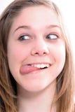 Vrouw die gezichten maakt Stock Afbeeldingen