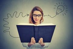 Vrouw die in glazen boek de lezen komt met een idee op de proppen Royalty-vrije Stock Afbeeldingen