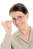 Vrouw die glazen draagt royalty-vrije stock foto's