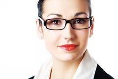 Vrouw die glazen draagt Stock Afbeelding