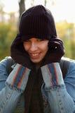 Vrouw die GLB en handschoenen draagt Stock Foto's