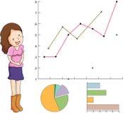 Vrouw die grafieken voorlegt Stock Afbeeldingen