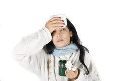 Vrouw die griep heeft Royalty-vrije Stock Fotografie
