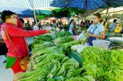 Vrouw die groene groenten kopen bij dorpsmarkt met vers landbouwersvoedsel Stock Foto