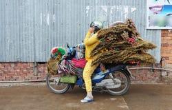 Vrouw die groot pakket op een motor dragen stock foto's