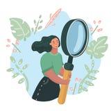 Vrouw die grote meer magnifier houden Dame met reus loupe stock illustratie