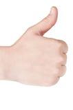 Vrouw die haar duim tegenhoudt Royalty-vrije Stock Foto