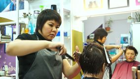 Vrouw die haar in een schoonheidssalon doen stock videobeelden