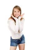 Vrouw die haar glimlach aantonen royalty-vrije stock afbeeldingen
