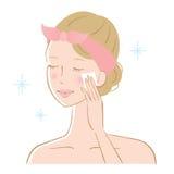 Vrouw die haar huid met katoenen stootkussen schoonmaken royalty-vrije illustratie