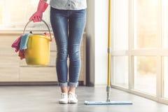 Vrouw die haar huis schoonmaken royalty-vrije stock afbeelding