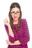 Vrouw die haar lip bijten Stock Foto