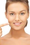 Vrouw die haar tanden tonen Royalty-vrije Stock Afbeelding