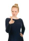 Vrouw die haar vinger richten op u Royalty-vrije Stock Afbeeldingen