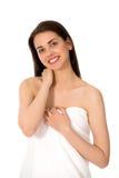 Vrouw die handdoek draagt Stock Fotografie