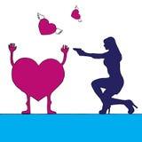 Vrouw die in hart, de andere harten schieten die wegvliegen Stock Foto