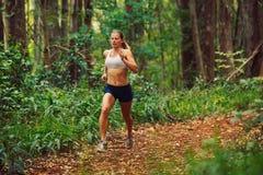 Vrouw die in het Bos loopt stock foto