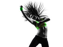 Vrouw die het dansende silhouet van geschiktheidszumba uitoefenen Royalty-vrije Stock Foto