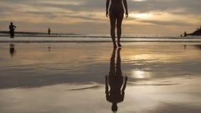 Vrouw die in het overzees over zonsondergang lopen stock video