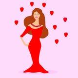 Vrouw die het rode kleding blijven dragen Stock Foto