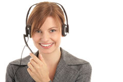Vrouw die hoofdtelefoon draagt Royalty-vrije Stock Fotografie