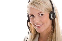 Vrouw die hoofdtelefoon draagt Stock Afbeelding