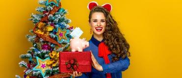 Vrouw die huidig doos en spaarvarken met een euro rekening tonen Royalty-vrije Stock Foto's
