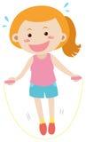 Vrouw die jumprope alleen doen stock illustratie