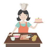 Vrouw die Kerstmiscake voorbereidt Royalty-vrije Stock Fotografie