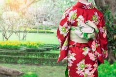 Vrouw die Kimono traditioneel Japan dragen die bij openbaar park lopen stock foto