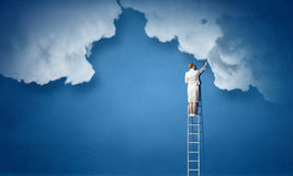 Vrouw die ladder beklimmen Gemengde media Royalty-vrije Stock Afbeelding