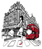 Vrouw die in Londen winkelt Stock Fotografie