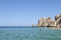 Vrouw die in Los Cabos, Mexico snorkelt Royalty-vrije Stock Afbeelding