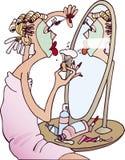 Vrouw die make-up doet vector illustratie