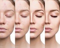 Vrouw die make-up stap voor stap toepassen Stock Afbeeldingen