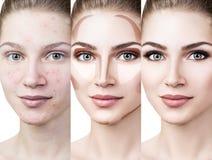 Vrouw die make-up stap voor stap toepassen Royalty-vrije Stock Afbeeldingen