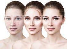 Vrouw die make-up stap voor stap toepassen Royalty-vrije Stock Foto