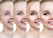 Vrouw die make-up stap voor stap toepassen Royalty-vrije Stock Fotografie