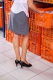 Vrouw die Mand van Stapel trekken stock fotografie