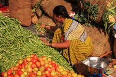 Vrouw die markt van de slabonen de Indische straat verzamelt Stock Afbeeldingen