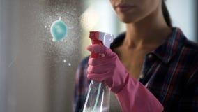 Vrouw die masterfully met vlekken op glas worstelen, die nieuwe schoonmakende agent gebruiken royalty-vrije stock afbeeldingen