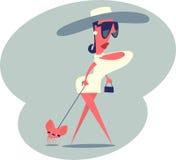 Vrouw die met een hond lopen Stock Fotografie